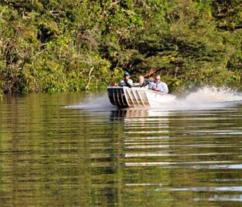 Anglers running one of the endless channels of the Rio Negro searching for peacock bass gold!